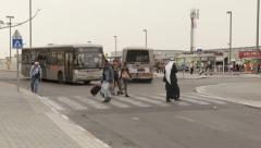 Illustrative Editorial footage. A traffic in the bus station in Beer Sheva centr Stock Footage