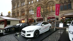 Cars at the Red square, near the GUM. - stock footage