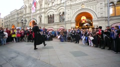 Unidentified cossacks dance near the GUM, Red Square. Stock Footage