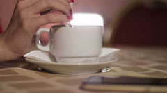 cup of coffee in a cafe - stock footage