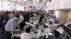 Pan: Israeli companies exhibiting their goods on the trading floor - stock footage