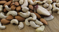 Almond with Mixed Nuts Rotate Closeup - stock footage