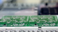 Surface Mount Technology Machine places elements on circuit boards Stock Footage