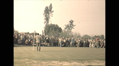 Vintage 16mm film, 1946, Arizona, Tuscon pro golfing putt Stock Footage