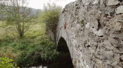 Old Welsh Stone Bridge In The Welsh Countryside Stock Footage