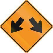Stock Illustration of Temporary road control version - Right or left