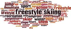 Freestyle skiing word cloud Stock Illustration