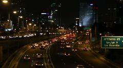 Night Traffic at  highway  Road Ayalon in Tel Aviv Israel. Illistration city Stock Footage