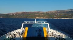 Ferryboat Rijeka Cres Island Kvarner Gulf Adriatic sea white blue sea water Stock Footage