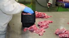 Worker Packing Ribeye Pork Chops Stock Footage