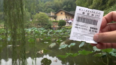 Entrance ticket to Mao Zedong's home in Shaoshan, hometown, birthplace, China Stock Footage