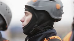 Men in helmets, rescue uniform attentively look up. Rescue operation of emercom - stock footage