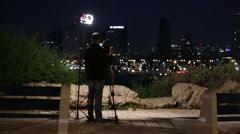 Cameraman Stocker. Night shot From Jaffa to Tel Aviv. Illustration work - stock footage