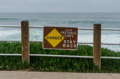 Danger Unstable Cliffs Sign - stock photo