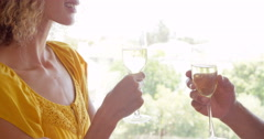 Smiling couple drinking glass of champagne Stock Footage