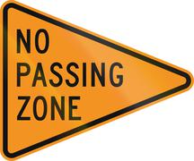 No Passing Zone road sign for roadworks/construction areas, in Delaware. Sour Stock Illustration