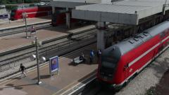 Rail station in Tel-Aviv  traffic. Train arriving. Pace, traffic Stock Footage