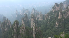 Beautiful mountain range with surreal looking peaks in National Park in China - stock footage