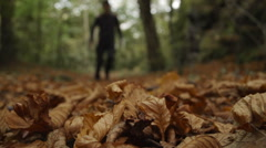 Hiker Walking Through Autumnal Leaves Stock Footage