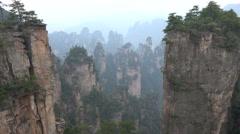 View of the beautiful Zhangjiajie mountains in Hunan, China Stock Footage