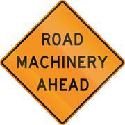 United States MUTCD road sign - Road machinery ahead Stock Illustration