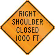 United States MUTCD road sign - Right shoulder closed Stock Illustration