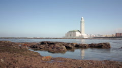 View on seafront of Grande Mosquée Hassan II in Casablanca, Morocco. - stock footage