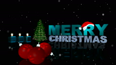 Animated shiny lights on green Christmas tree with designer snow flowers falling Stock Footage