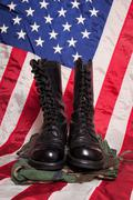 Combat Boots with Flag Stock Photos