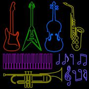 neon music signs - stock illustration