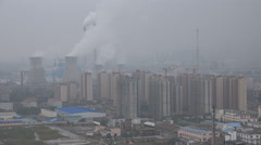 China air pollution, coal fired power plant, chimneys, smokestacks Stock Footage
