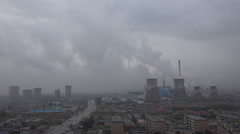 Coal fired power plant in suburbs Hohhot, China - stock footage
