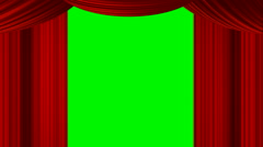 Animated zooming heart red curtain on green screen chroma key for stage show - stock footage