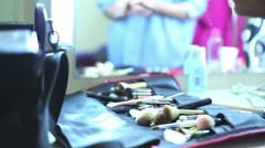 Tools make-up on the table. Stock Footage