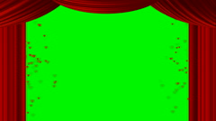 Animated heart red curtain on green screen chroma key Stock Footage