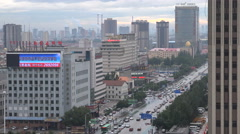 The city center of Hohhot, capital city of Inner Mongolia in China Stock Footage