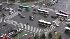 Busy traffic during rush hour, rainy day, wet road, Hohhot, China Stock Footage