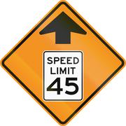 Stock Illustration of Temporary road control version - 45 MPH Zone ahead