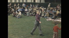 Vintage 16mm film, 1946, Arizona, HS boys band parade of children Stock Footage