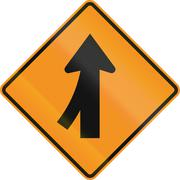 United States MUTCD road sign - Intersection with merge - stock illustration