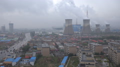 A coal fired power plant in the suburbs of Hohhot, China - stock footage
