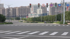 Ordos ghost city, China property bubble, empty streets, traffic lights Stock Footage