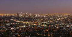 Sunset Time Lapse Los Angeles Skyline Stock Footage