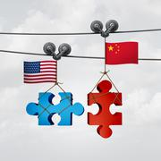 American And Chinese Cooperation - stock illustration