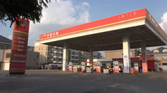 Chinese petrol station, China National Petroleum Corporation CNPC - stock footage