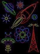 retro neon signs - stock illustration