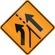 Stock Illustration of United States MUTCD road sign - Intersection with merge