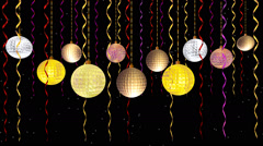 Animated moving shiny balls of vivid colors golden yellow pink and silver Stock Footage
