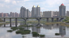 Skyline of Kangbashi, Ordos, one of China's most well known 'ghost cities' Stock Footage