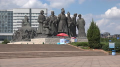 Genghis Khan statues in Kangbashi, Ordos, China Stock Footage